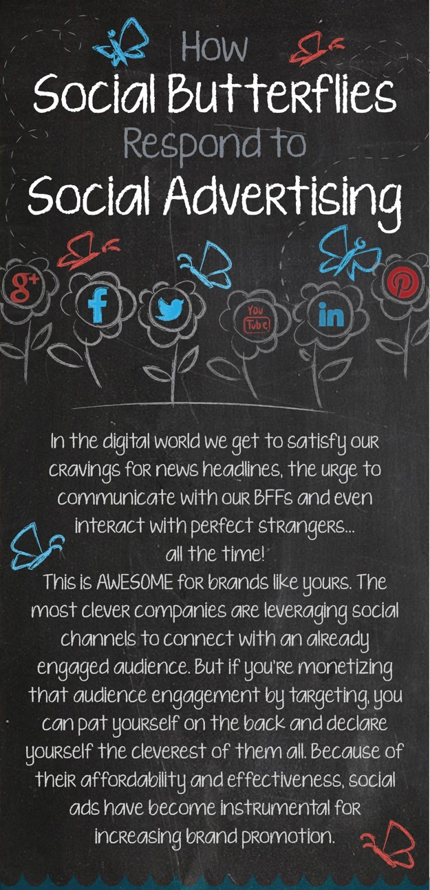 Screenshot of the How Social Butterflies Respond to Social Advertising infographic.